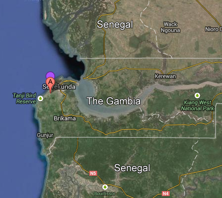 map of gambia from space