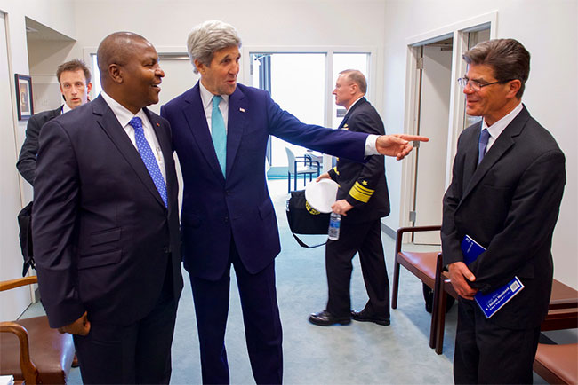 Faustin Touadera with John Kerry